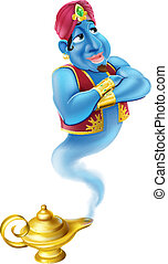 Friendly Jinn or genie and magic oi - Illustration of a...