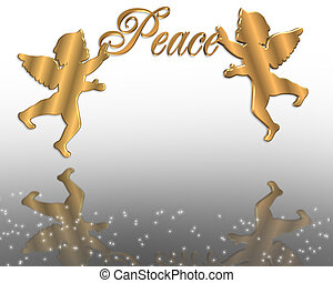 Christmas Peace Angels 3D - Illustration composition for...