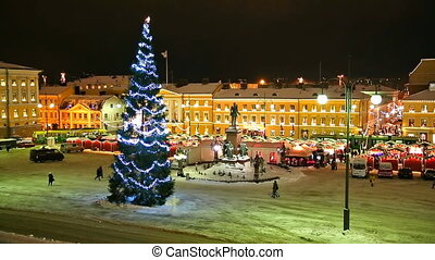 Christmas in Helsinki, Finland - Christmas tree and holiday...