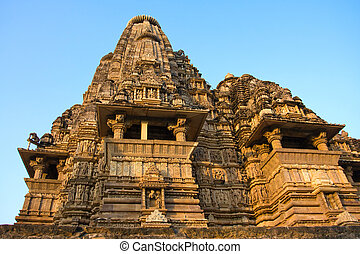 Temples of Khajuraho, famous for their erotic sculptures -...