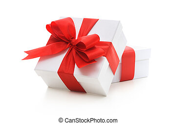 Gift boxes with red ribbon and bow on white background