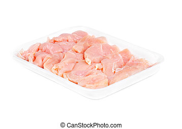 chicken meat sliced isolated on white background
