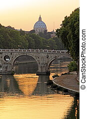 Sunset on the Tiber and Saint Peter, Rome - Sunset on the...
