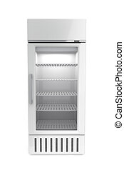 Market refrigerator on white background