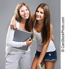 Casual dressed high school students girl smiling