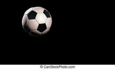 Soccer ball - jumping on black background, loop