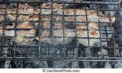 shashlik meat bake turn