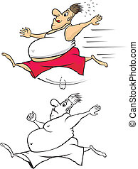 fat man running to lose weight - running guy with a big...
