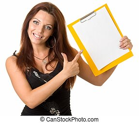 girl with blank paper - beautiful smiling girl with blank...