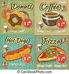 set of Retro Menu Cards