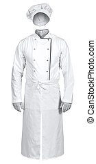 White chef jacket with apron and hat isolated on white...