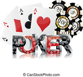poker fiches - illustration of poker text with ace cards and...