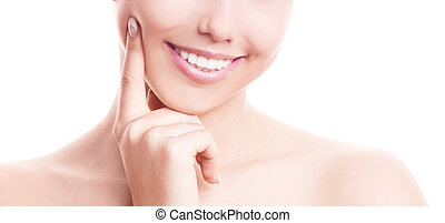 healthy teeth - closeup of the healthy white teeth of a...