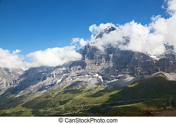 Eiger - Famous north face of mount Eiger in Jungfrau region