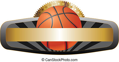 Basketball Design Emblem Banner - Illustration of a...