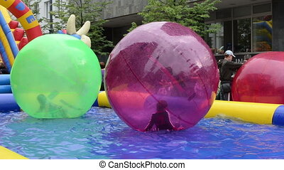 kids zorb bublle basin - VILNIUS, LITHUANIA - SEPTEMBER 1:...