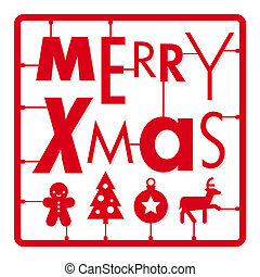 Christmas card, typography letters