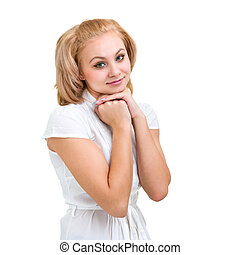 modest woman - Smiling calm woman, isolated on white...