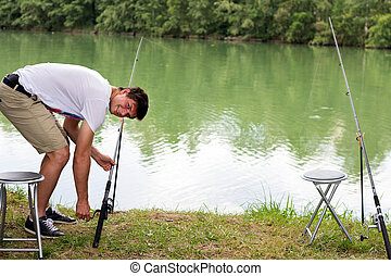 homem, lago, pesca