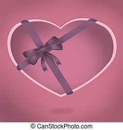 Vintage valentine heart with ribbon bow illustration. Card