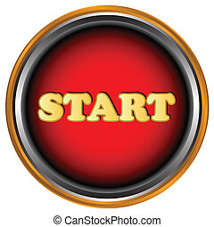 Start button - New start button on a white background