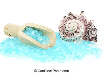 Bath Salt and Shell - Isolated blue bath salt in a woode...
