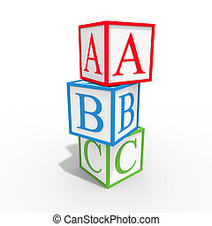Cube ABC - Colored cubes that says a b c