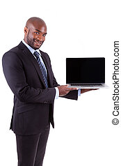 African Amercian business man showing a laptopn screen,...