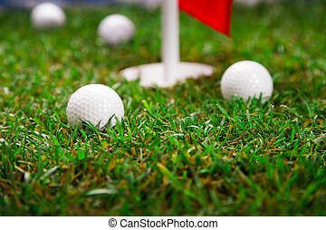 Let's play a round of golf! - Golf ball on the green grass....
