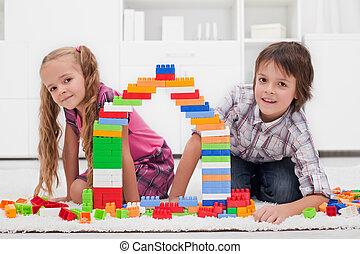 blocos, crianças, Feliz