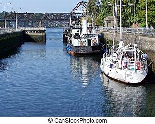 Ballard Locks - Boats at Ballard Locks