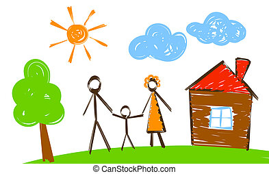 happy family, simply painted picture like vector...