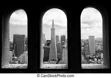 View from Coit Tower - View of the city from Coit Tower in...