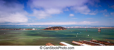 San Francisco bay - Panoramic view of Treasure Island in San...