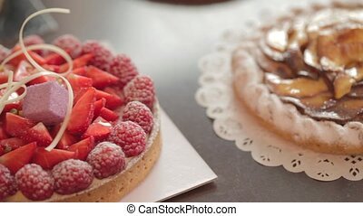 delicious strawberry tart - pan over a luxurious strawberry...