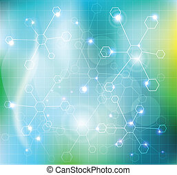 Abstract molecules wallpaper, medical background. Beautiful...