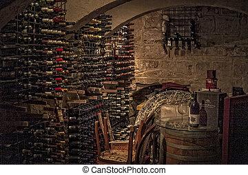 Wine Cellar - Interior of a typical Mediterranean wine...