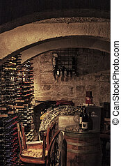 The Cellar - Interior of a typical Mediterranean wine cellar...
