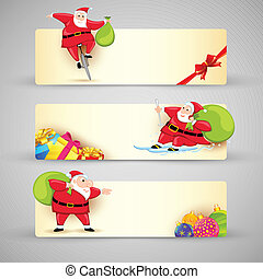 Christmas Banner - illustration of Santa Claus in Christmas...