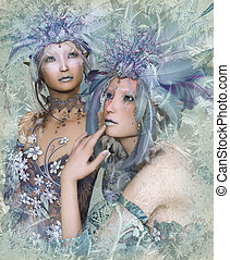 2 Winter Elves - a portrait of two winter-elves with feather...