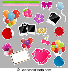 Set of scrapbook elements. Vector illustration.