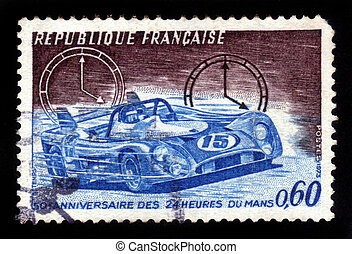 racing car - FRANCE - CIRCA 1973: stamp printed by France,...