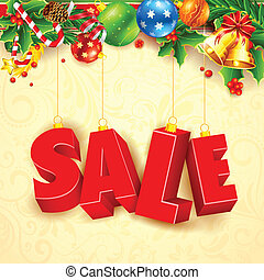 Christmas Sale - illustration of Christmas decoration for...