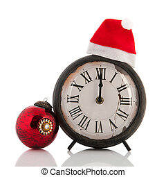Twelve hours at Christmas time - Antique clock with twelve...