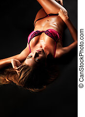 slim body - Portrait of a sexual woman in lingerie over...