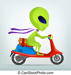 Cartoon Alien - Cartoon Character Funny Alien Isolated on...
