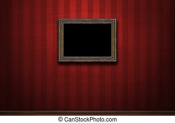 Old wooden frame on red retro grunge wall