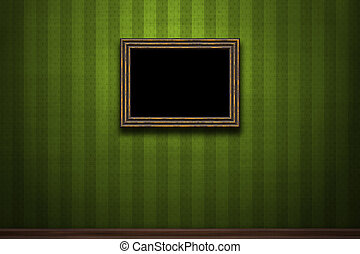 Old wooden frame on green retro grunge wall