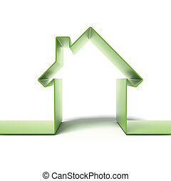 Green eco house concept isolated on a white background