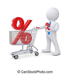 3d white man with a cart and percent sign. Isolated render...